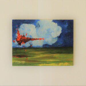 obraz olejny z widocznym rozbłyskiem